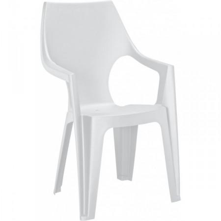 Moderní plastové designové křeslo, bílé