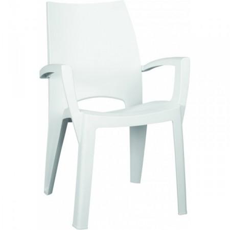 Plastové moderní stohovatelné křeslo - bílé