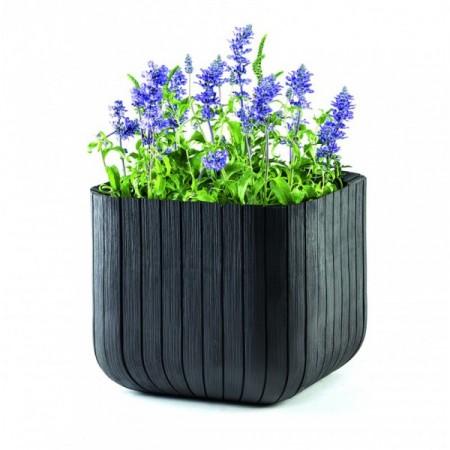 Ozdobný květináč - imitace dřeva, antracit, 39,5x39,5x39,5 cm