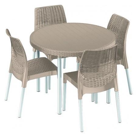 Plastový nábytek - kulatý stůl + 4 židle, imitace ratanu, cappucino