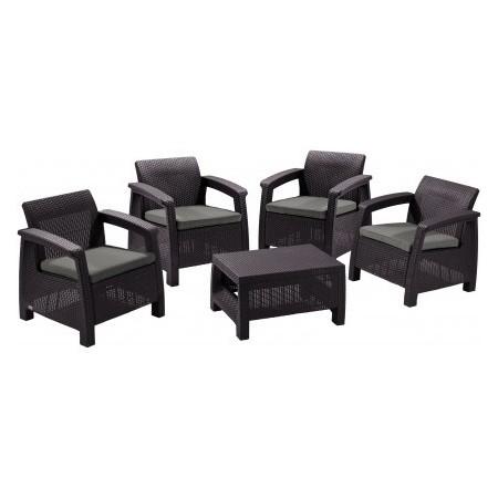 Set zahradního nábytku - 4x křeslo, 1x stůl, hnědý ratan