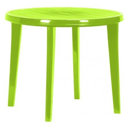 Kulatý plastový stůl, otvor pro slunečník, zelený