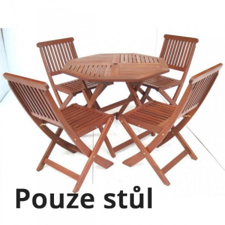 Dřevěný kulatý stůl z masivu, tvrdé tropické dřevo MERANTI