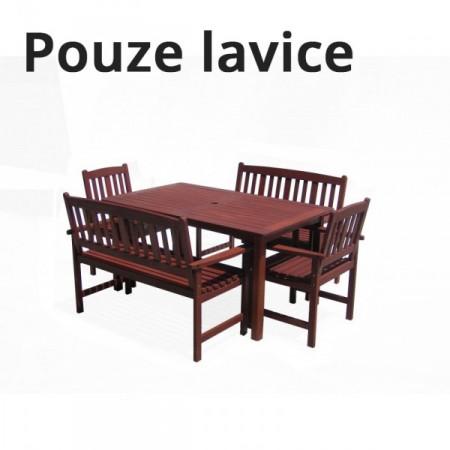 Dřevěná lavice s područkami, tvrdé tropické dřevo MERANTI