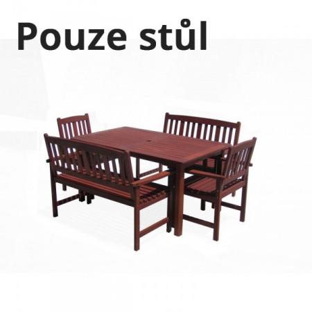 Dřevěný obdélníkový zahradní stůl, tvrdé tropické dřevo MERANTI