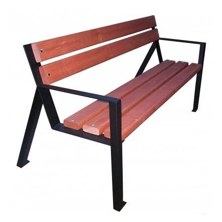 Parková lavice - ocelový rám, dřevěný sedák a opěradlo