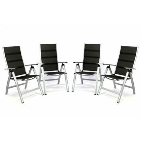 4 ks luxusní kovová polohovatelná židle s textilním potahem