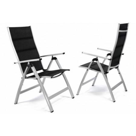 2 ks luxusní kovová polohovatelná židle s textilním potahem