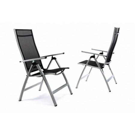 2 ks zahradní kovová židle - polohovatelná, prodyšný sedák a opěradlo
