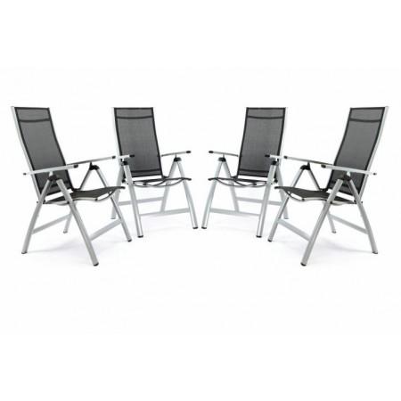 4 ks kovová zahradní židle polohovatelná, textilní sedák a opěradlo