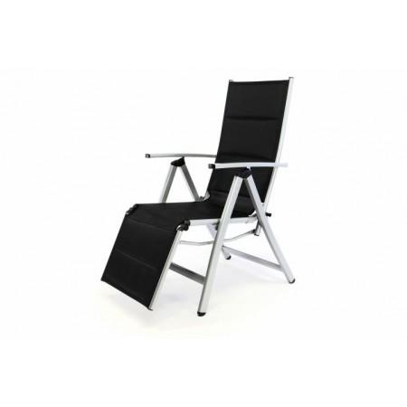 Zahradní židle / lehátko s nastavitelným opěradlem a podložkou pod nohy