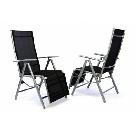 2 ks moderní kovová zahradní židle s podložkou pod nohy