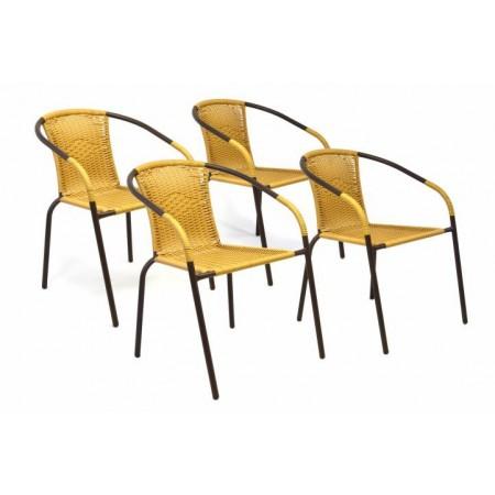4 ks zahradní židle s kovovou kostrou, ratanový výplet, béžová