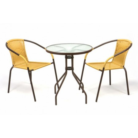 Balkonový set - skleněný stůl, 2 židle s ratanovým výpletem