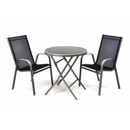 Balkonový set nábytku - kulatý sklopný stolek, 2 x židle