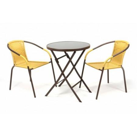 Balkonový set - sklopný stolek, 2 x židle s ratanovým výpletem