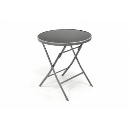 Kulatý skládací stolek se skleněnou deskou, stříbrná / černá