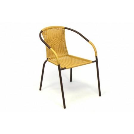 Venkovní židle s ocelovým rámem, ratanový výplet, béžová
