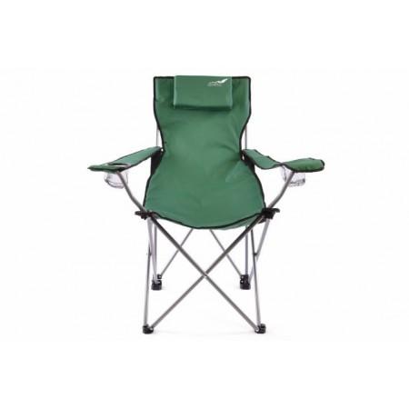 Skládací přenosná židle s područkami, kovový rám, textilní potah