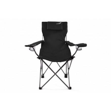 Skládací židle s kovovým rámem vč. přenosné tašky, černá