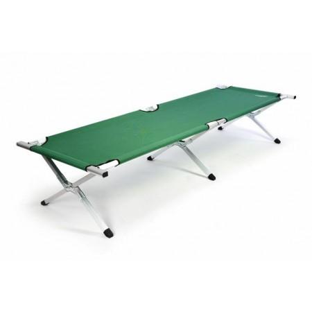 Přenosná skládací postel, kovoý rám, textilní výplet, zelená