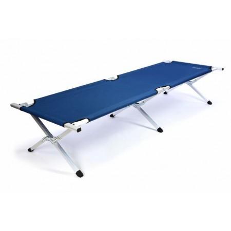 Skládací přenostná postel, kovový rám, textilní výplet, modrá