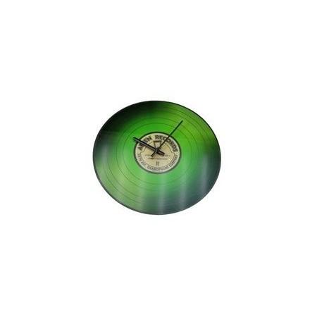 Designové nástěnné hodiny, motiv vinylové desky, 35 cm, zelené