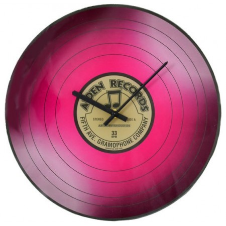 Designové nástěnné hodiny, motiv vinylové desky, 35 cm, růžové