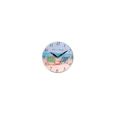 Kulaté nástěnné hodiny 23 cm, potisk pláž