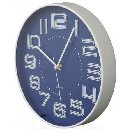 Nástěnné kulaté hodiny s velkými čísly 30,5 cm - modré
