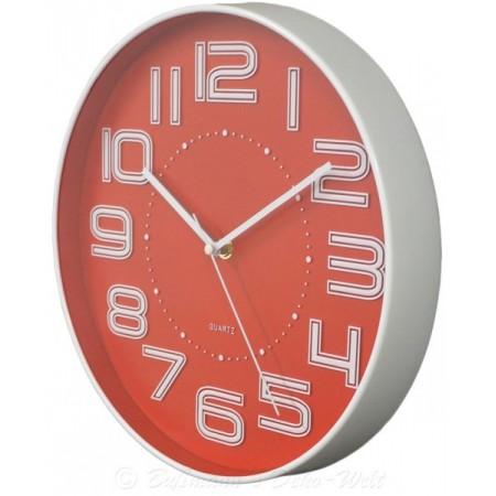 Nástěnné kulaté hodiny s velkými čísly 30,5 cm - červené