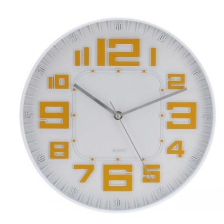 Skleněné nástěnné hodiny 30 cm, bílá / oranžové číslice