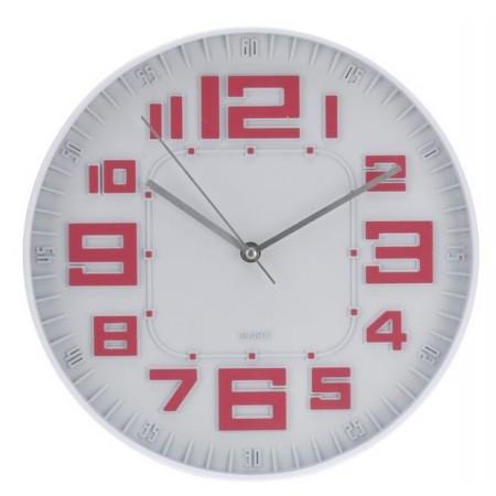 Moderní nástěnné hodiny 30 cm, různě velká písmena - červená