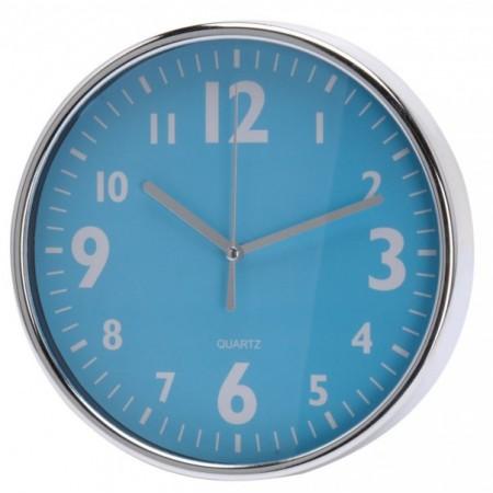 Kulaté nástěnné hodiny s chromovaným rámečkem 20 cm, modré