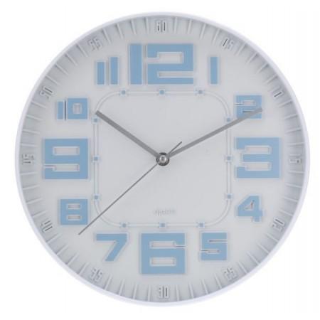 Skleněné nástěnné hodiny s různě velkými číslicemi 30 cm, modré