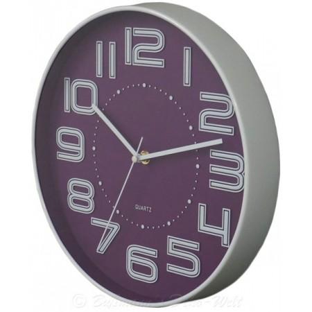 Kulaté nástěnné hodiny s velkými čísly 30,5 cm, fialové