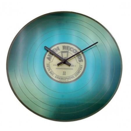 Nástěnné skleněné hodiny 35 cm - motiv vinylové desky, modré