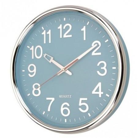 Kulaté nástěnné hodiny s chromovaným rámečkem 37,5 cm, modré