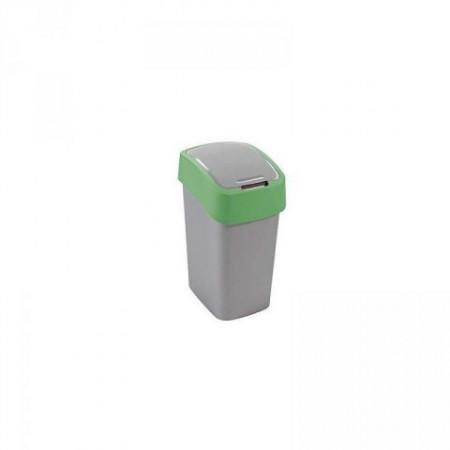 Odpadkový koš 10 l s otevíracím víkem, zelená/šedá