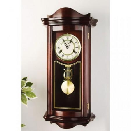 Dekorativní nástěnné kyvadlobé hodiny- imitace mahagonu, 64 cm