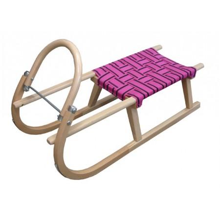 Dětské dřevěné sáně 95 cm, fialové textilní sedlo