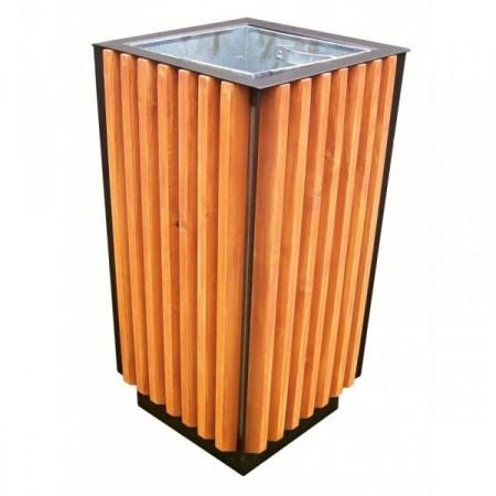 Venkovní odpadkový koš 65 l, kov + smrkové dřevo