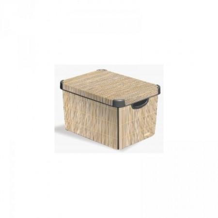 Plastový skladovací box, vel. S, béžová / potisk bambus