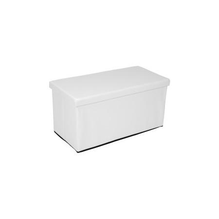 Skládací lavice z PU kůže- úložný prostor, bílá