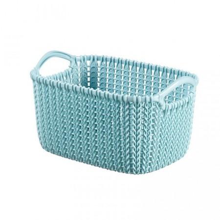 Plastový košík s úchyty 3l, motiv háčkování, modrý