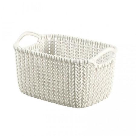 Plastový košík s úchyty 3l, motiv háčkování, krémový