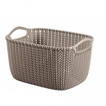 Plastový košík s úchyty 8l, motiv háčkování, hnědý