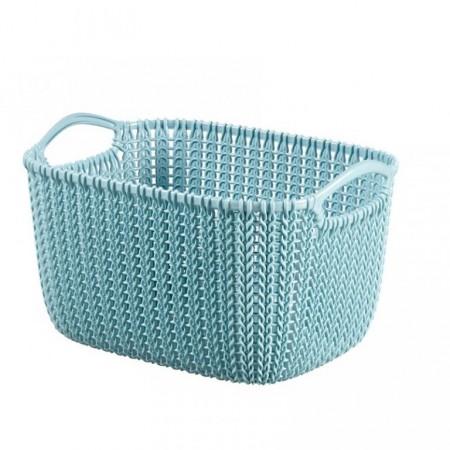 Plastový košík s háčkovaným motivem 8 l, modrý
