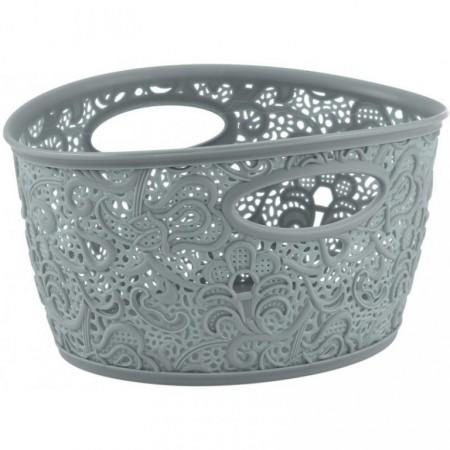 Malý plastový dekorativní košík s ornamenty, šedý