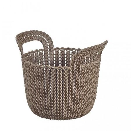 Kulatý plastový košík 3 l, styl háčkování, hnědý